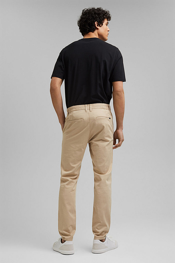 Organic cotton chinos with an elasticated waistband, LIGHT BEIGE, detail image number 3