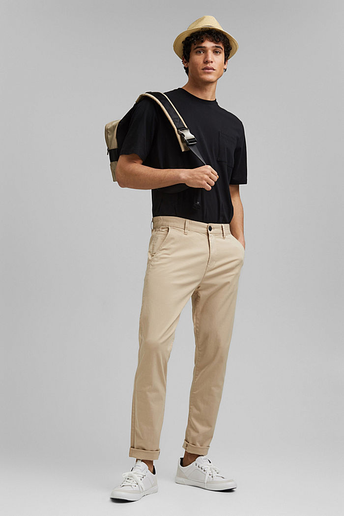Organic cotton chinos with an elasticated waistband, LIGHT BEIGE, detail image number 1