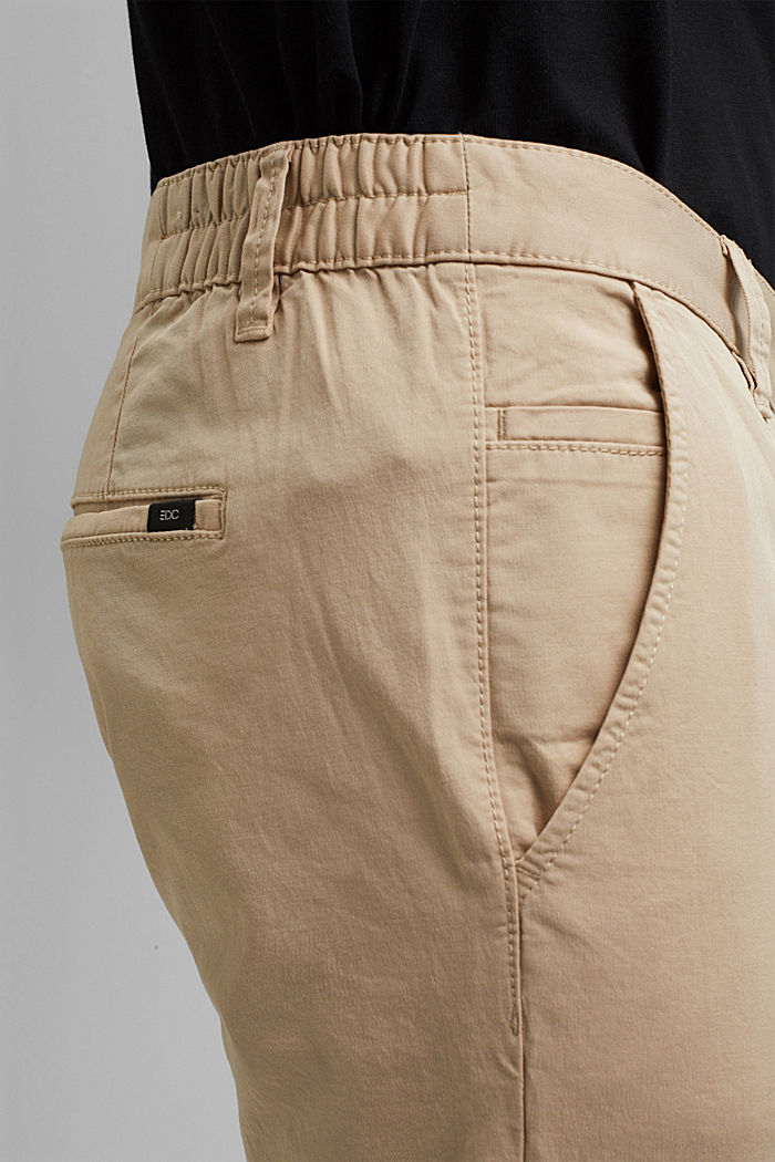 Organic cotton chinos with an elasticated waistband, LIGHT BEIGE, detail image number 2