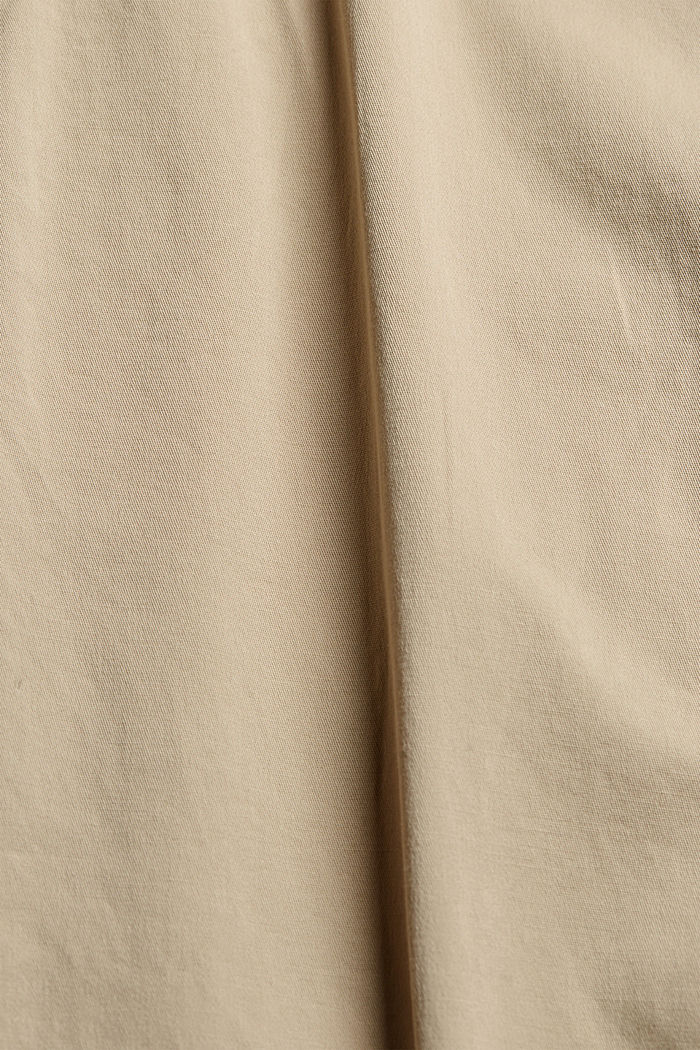 Organic cotton chinos with an elasticated waistband, LIGHT BEIGE, detail image number 4
