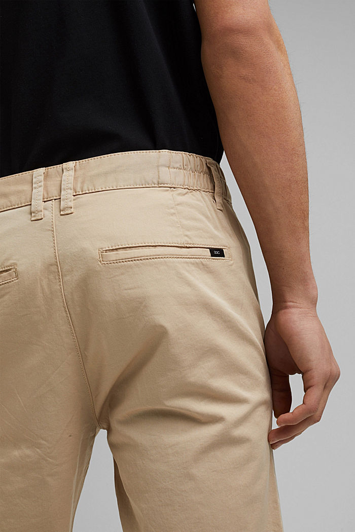 Organic cotton chinos with an elasticated waistband, LIGHT BEIGE, detail image number 5
