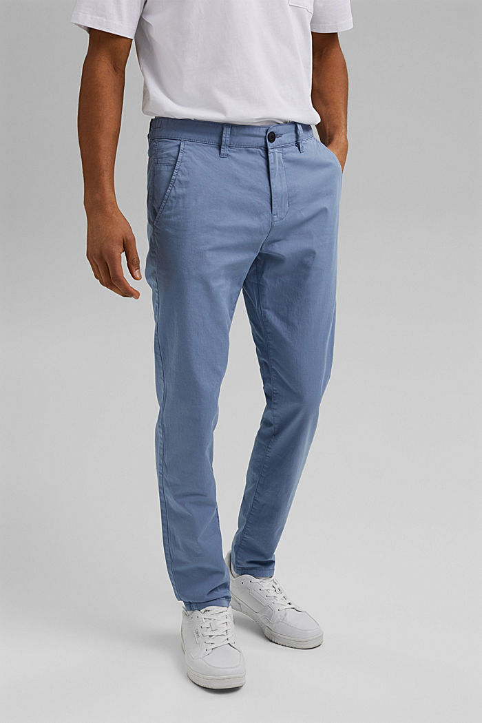 Organic cotton chinos with an elasticated waistband, LIGHT BLUE, detail image number 0