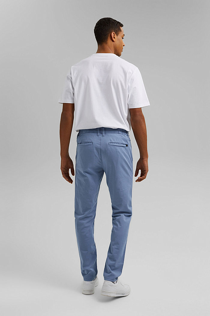 Organic cotton chinos with an elasticated waistband, LIGHT BLUE, detail image number 3
