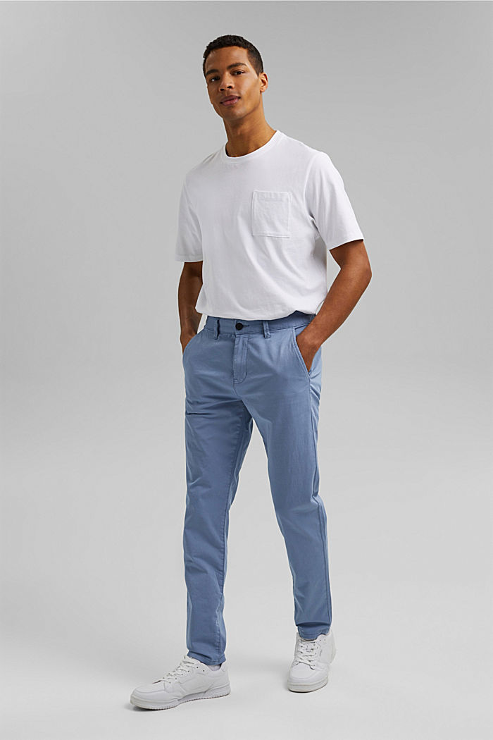 Organic cotton chinos with an elasticated waistband, LIGHT BLUE, detail image number 5