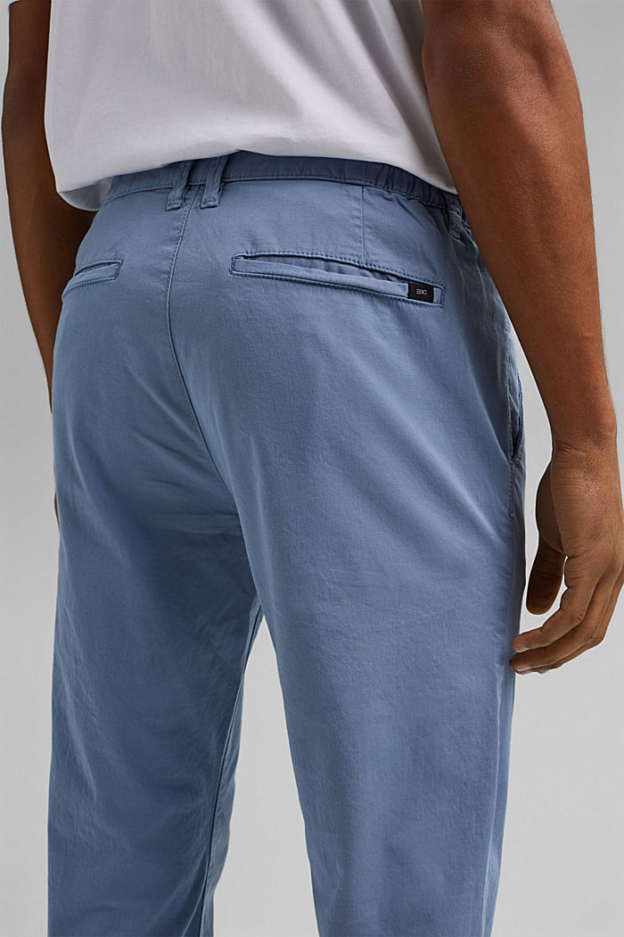 Organic cotton chinos with an elasticated waistband, LIGHT BLUE, detail image number 2