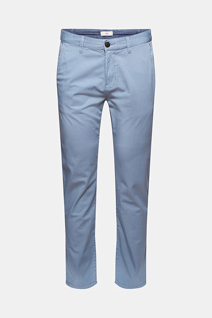Organic cotton chinos with an elasticated waistband, LIGHT BLUE, detail image number 6