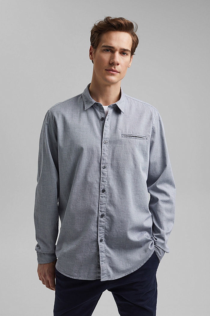 Textured shirt in organic cotton, NAVY, detail image number 0