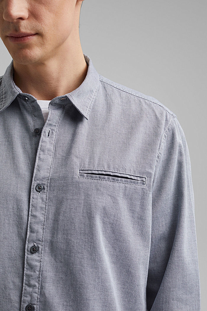 Textured shirt in organic cotton, NAVY, detail image number 2
