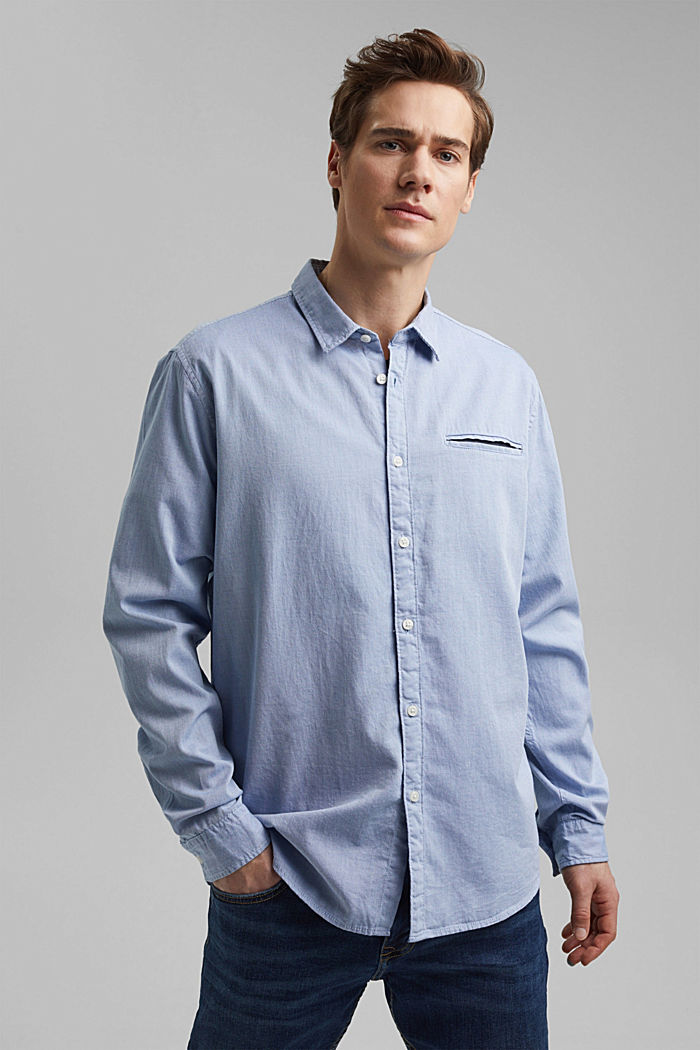Textured shirt in organic cotton, LIGHT BLUE, detail image number 0
