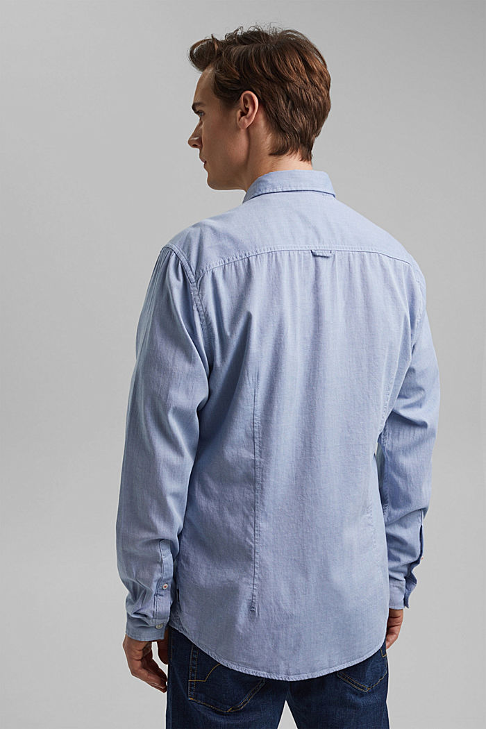 Textured shirt in organic cotton, LIGHT BLUE, detail image number 3