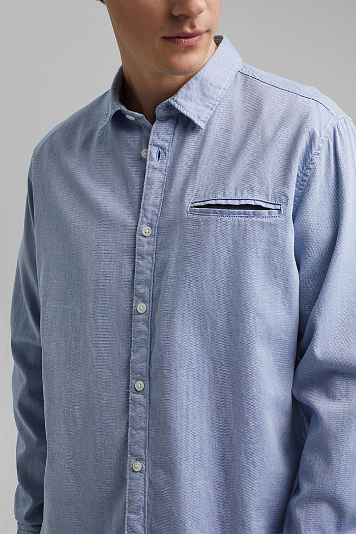Textured shirt in organic cotton, LIGHT BLUE, detail image number 2