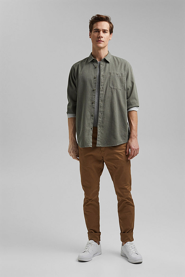 Textured shirt made of 100% cotton, KHAKI GREEN, detail image number 1