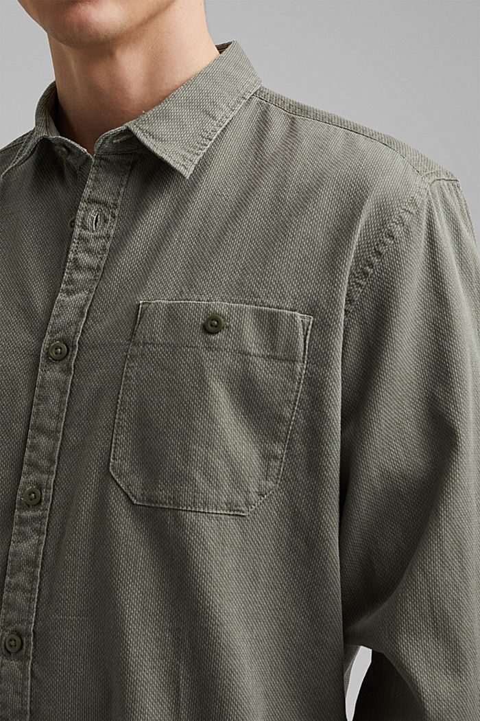 Textured shirt made of 100% cotton, KHAKI GREEN, detail image number 2