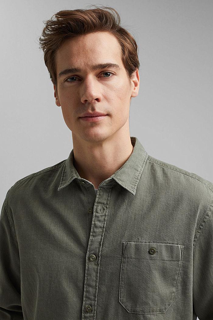 Textured shirt made of 100% cotton, KHAKI GREEN, detail image number 6