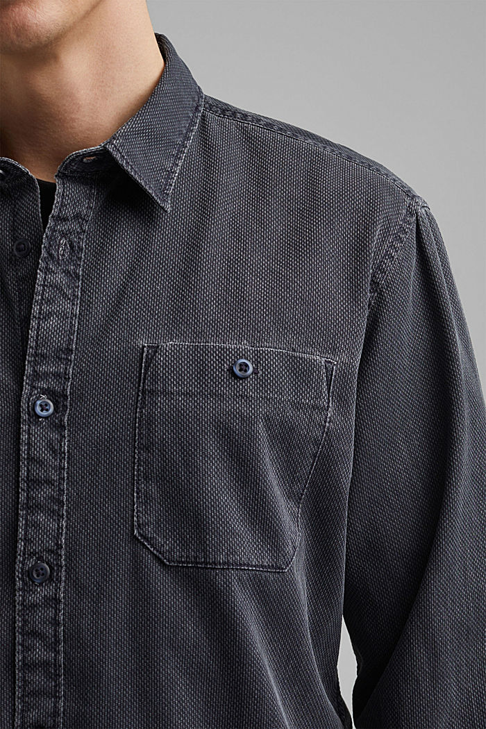Textured shirt made of 100% cotton, NAVY, detail image number 2