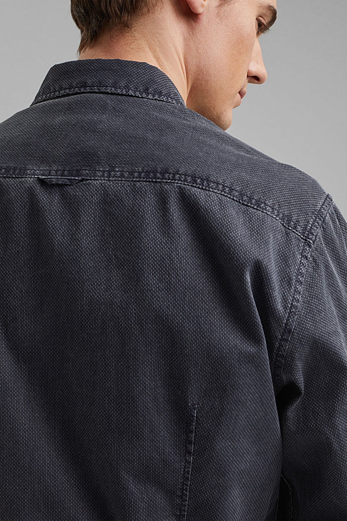 Textured shirt made of 100% cotton, NAVY, detail image number 5