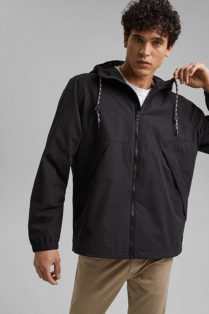 Weatherproof light jacket in blended cotton, BLACK, detail image number 0