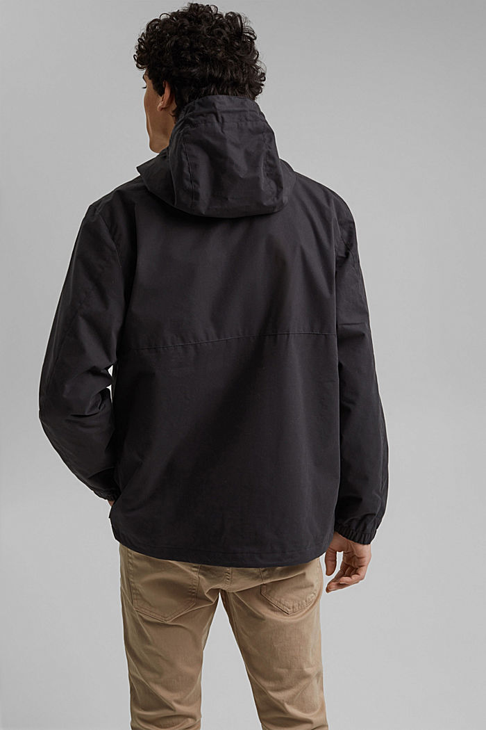Weatherproof light jacket in blended cotton, BLACK, detail image number 3