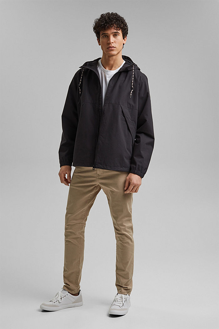 Weatherproof light jacket in blended cotton, BLACK, detail image number 1