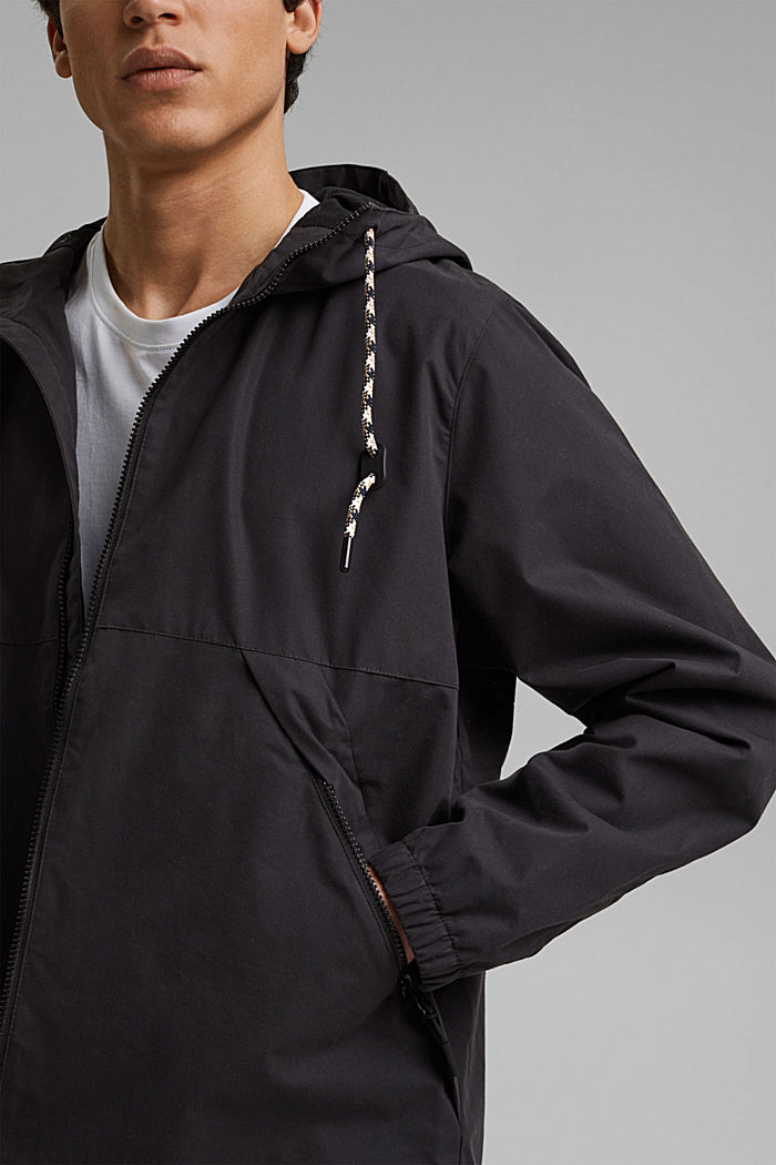 Weatherproof light jacket in blended cotton, BLACK, detail image number 2