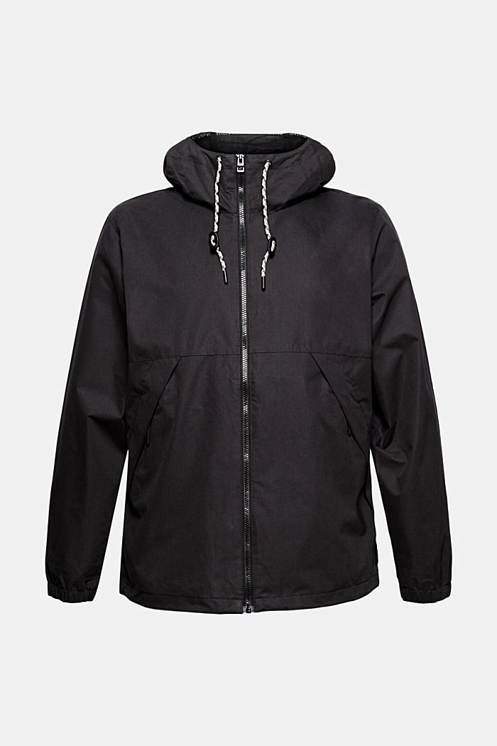 Weatherproof light jacket in blended cotton, BLACK, detail image number 5