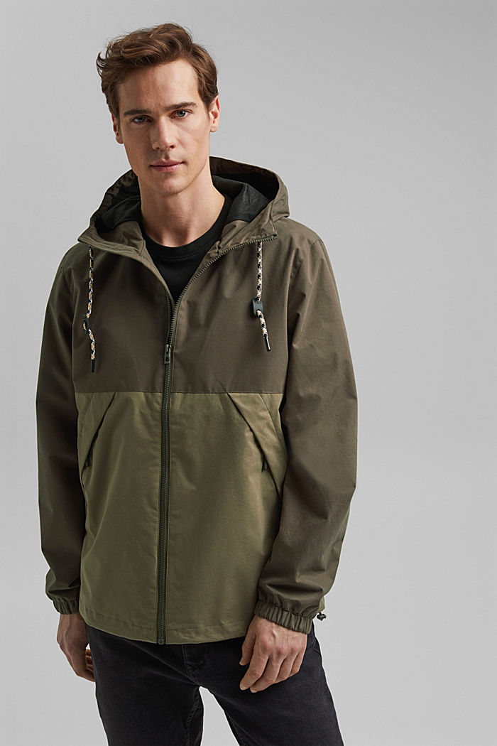 Weatherproof light jacket in blended cotton, DARK KHAKI, overview
