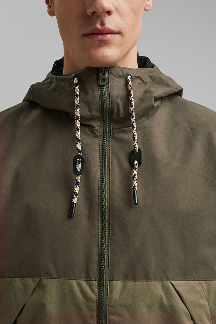 Weatherproof light jacket in blended cotton, DARK KHAKI, detail image number 2
