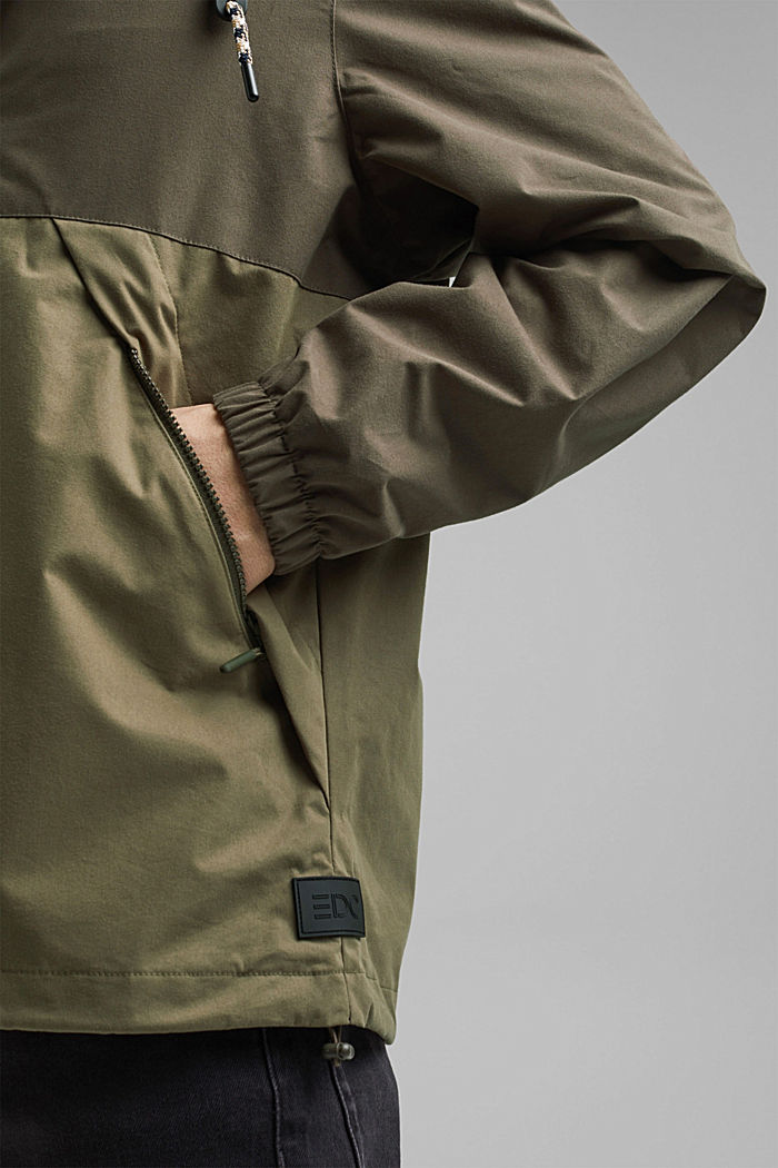 Weatherproof light jacket in blended cotton, DARK KHAKI, detail image number 6