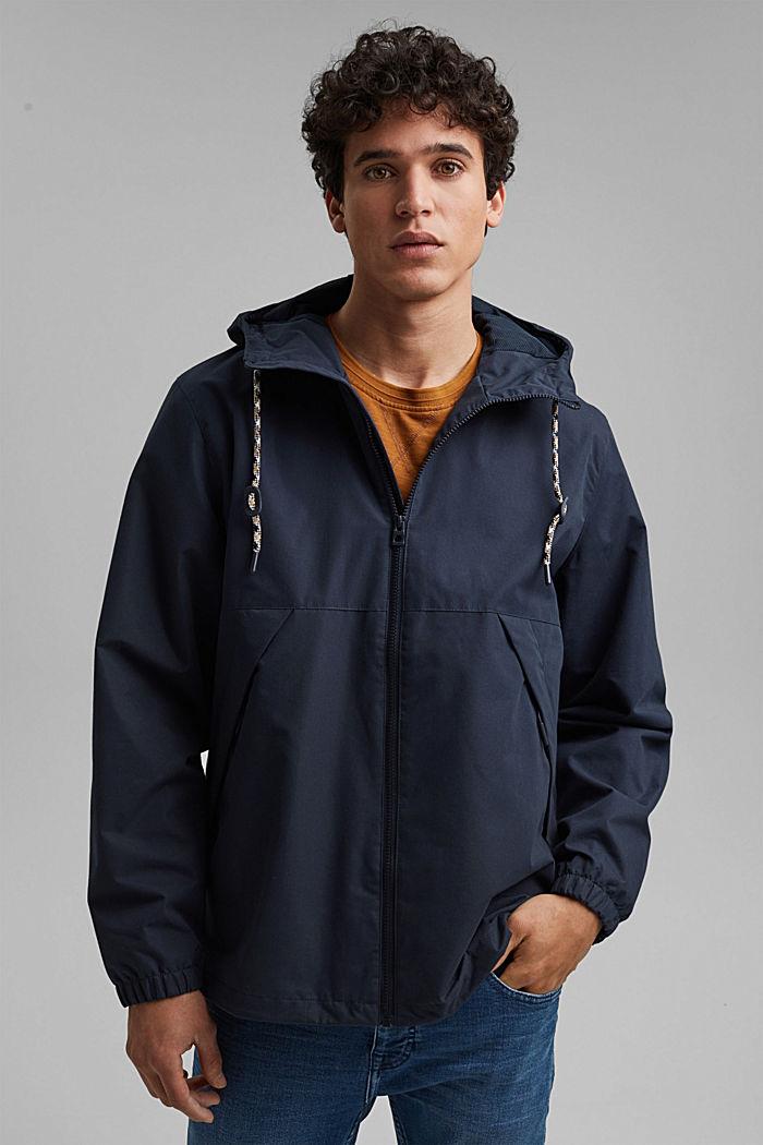 Weatherproof light jacket in blended cotton, NAVY, detail image number 0