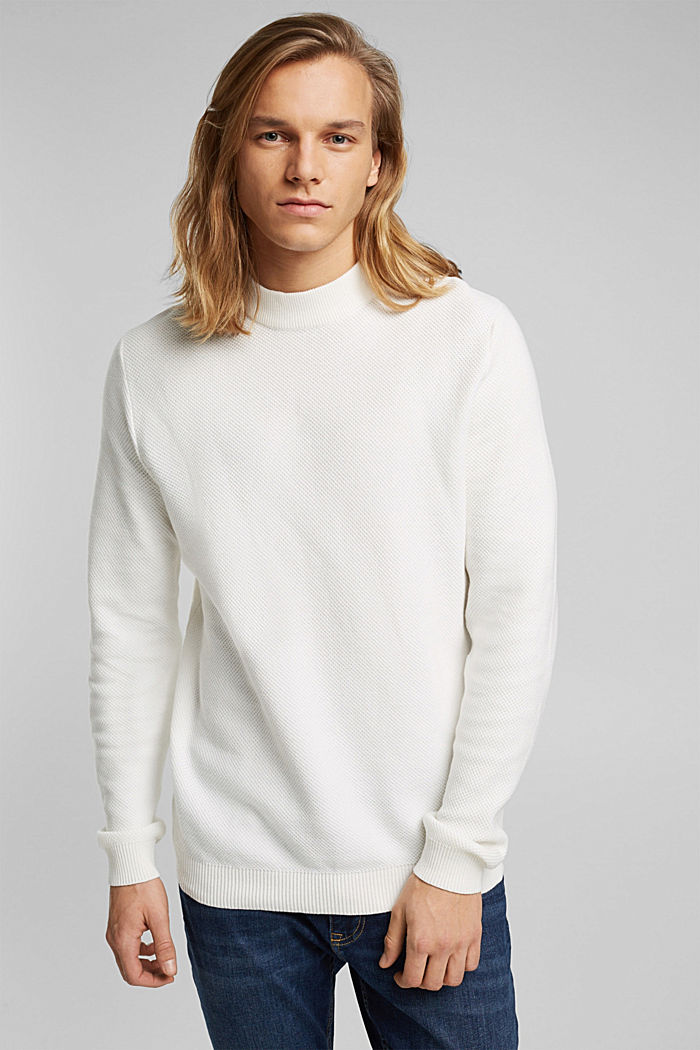 Textured jumper made of 100% organic cotton, OFF WHITE, detail image number 0