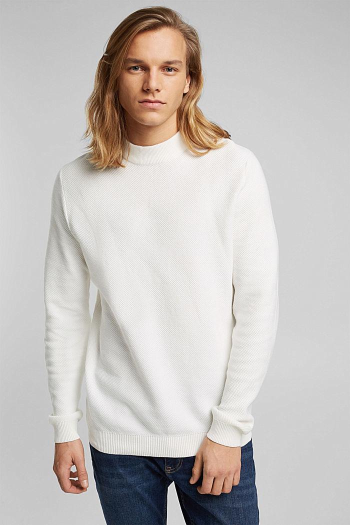 Strukturierter Pullover aus 100% Bio-Baumwolle, OFF WHITE, detail image number 0