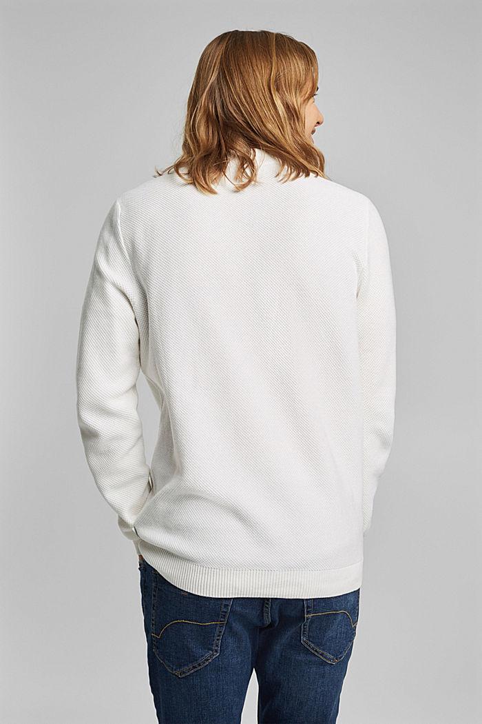 Strukturierter Pullover aus 100% Bio-Baumwolle, OFF WHITE, detail image number 3