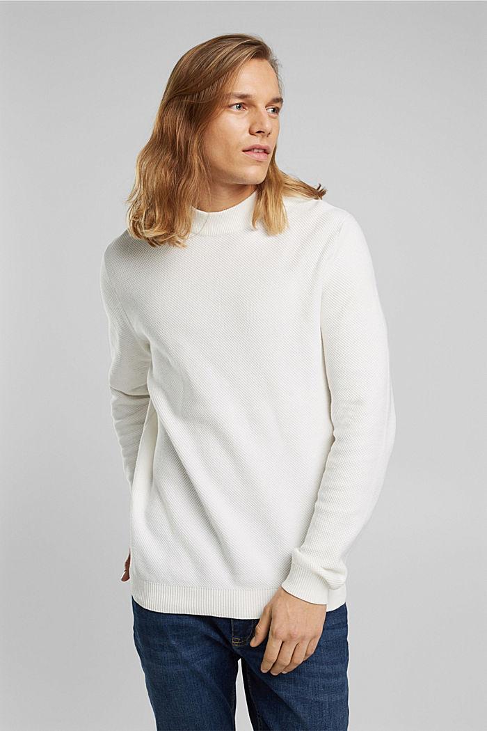 Strukturierter Pullover aus 100% Bio-Baumwolle, OFF WHITE, detail image number 6