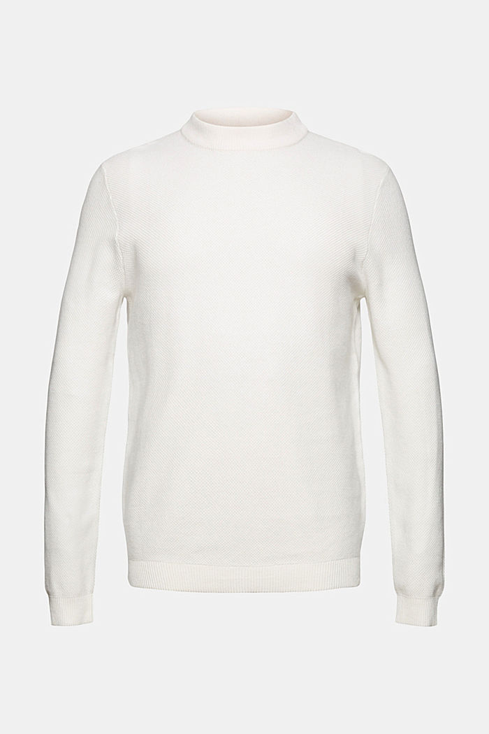 Textured jumper made of 100% organic cotton, OFF WHITE, detail image number 7