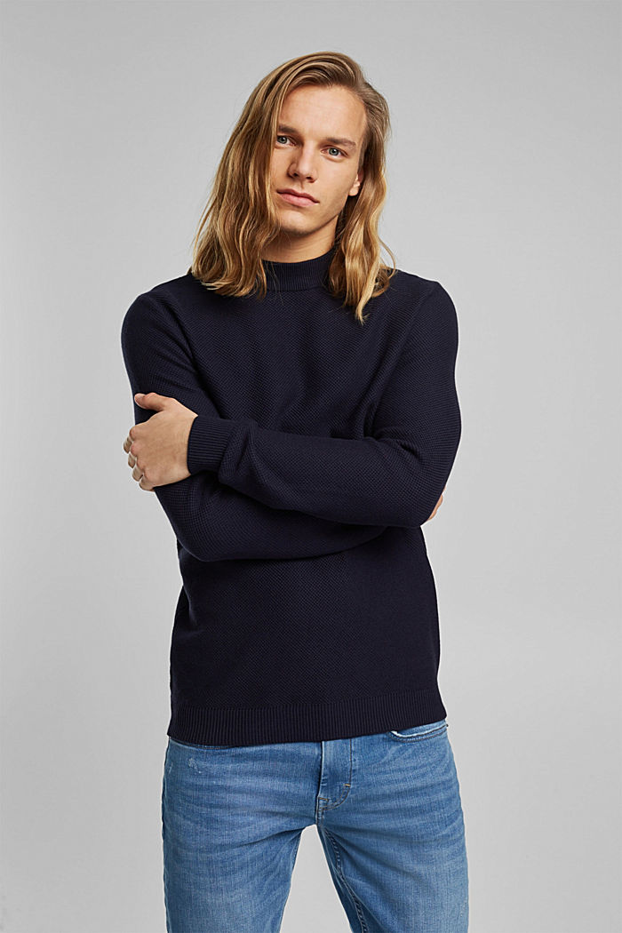 Textured jumper made of 100% organic cotton, NAVY, detail image number 0