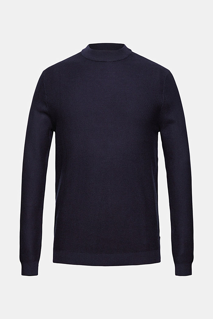 Textured jumper made of 100% organic cotton, NAVY, detail image number 6