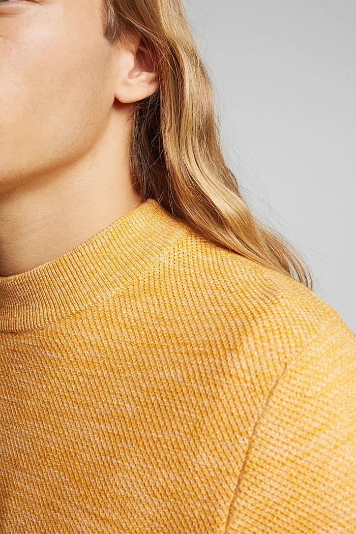 Gestructureerde trui van 100% biologisch katoen, SUNFLOWER YELLOW, detail image number 2