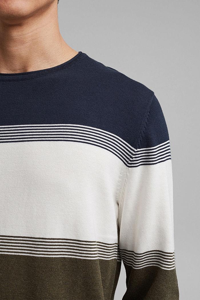 Colorblock-Pullover aus Organic Cotton, DARK KHAKI, detail image number 2