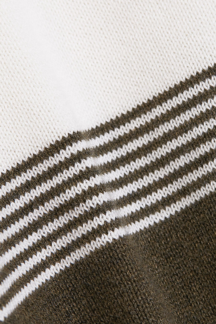 Colorblock-Pullover aus Organic Cotton, DARK KHAKI, detail image number 4