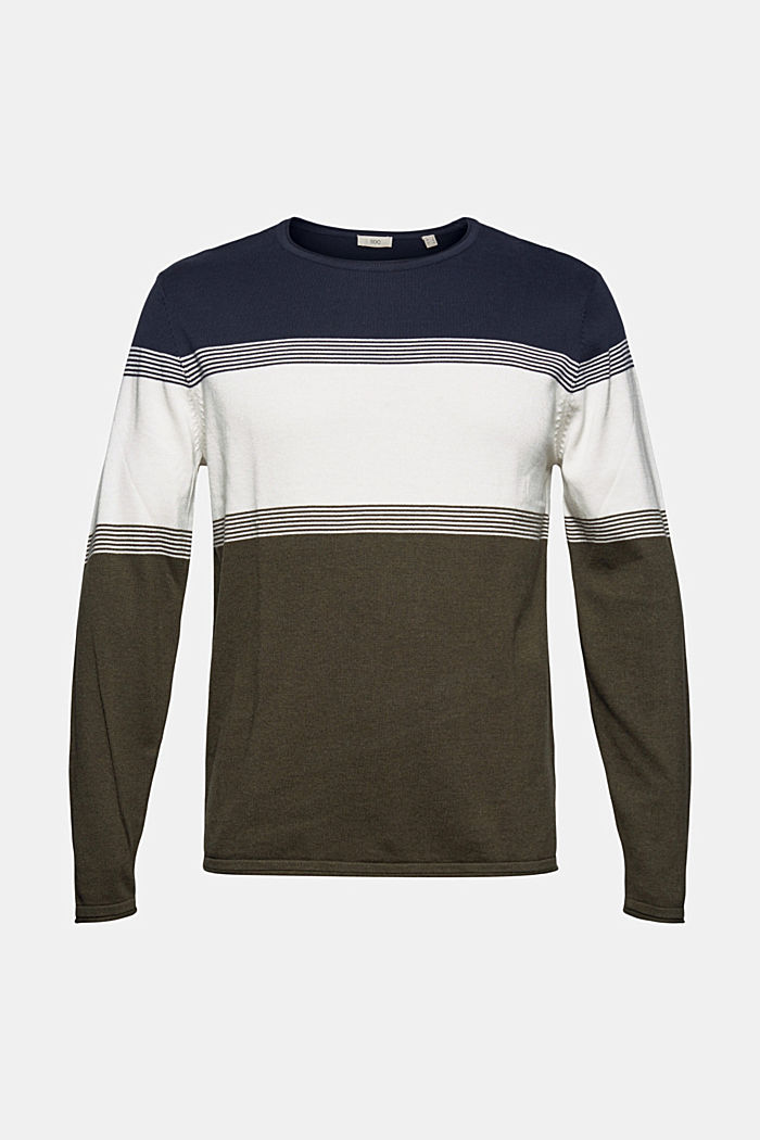 Colour block jumper made of organic cotton, DARK KHAKI, overview