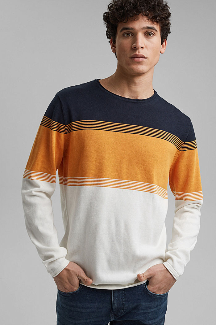 Colour block-trui van biologisch katoen, NAVY, detail image number 0