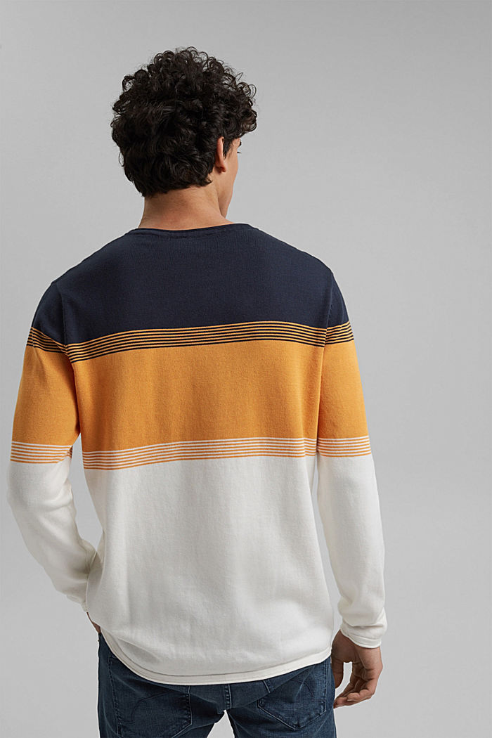 Colour block-trui van biologisch katoen, NAVY, detail image number 3