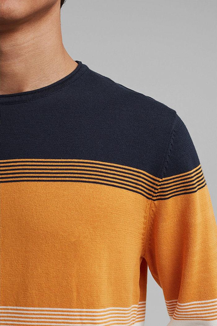 Colour block-trui van biologisch katoen, NAVY, detail image number 2