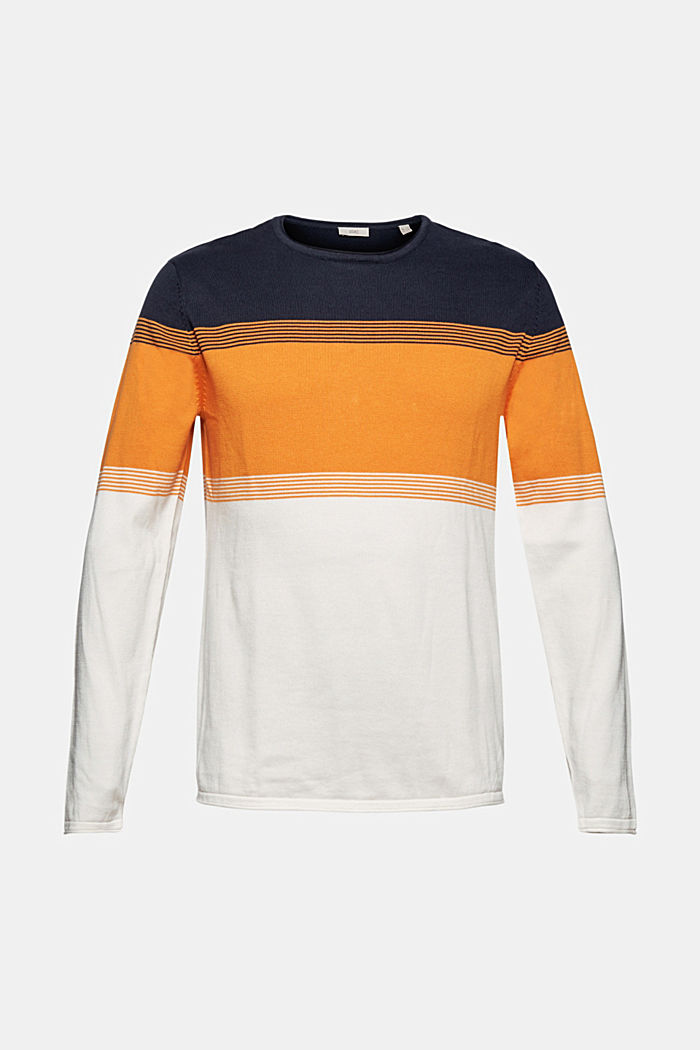 Colour block-trui van biologisch katoen, NAVY, detail image number 5