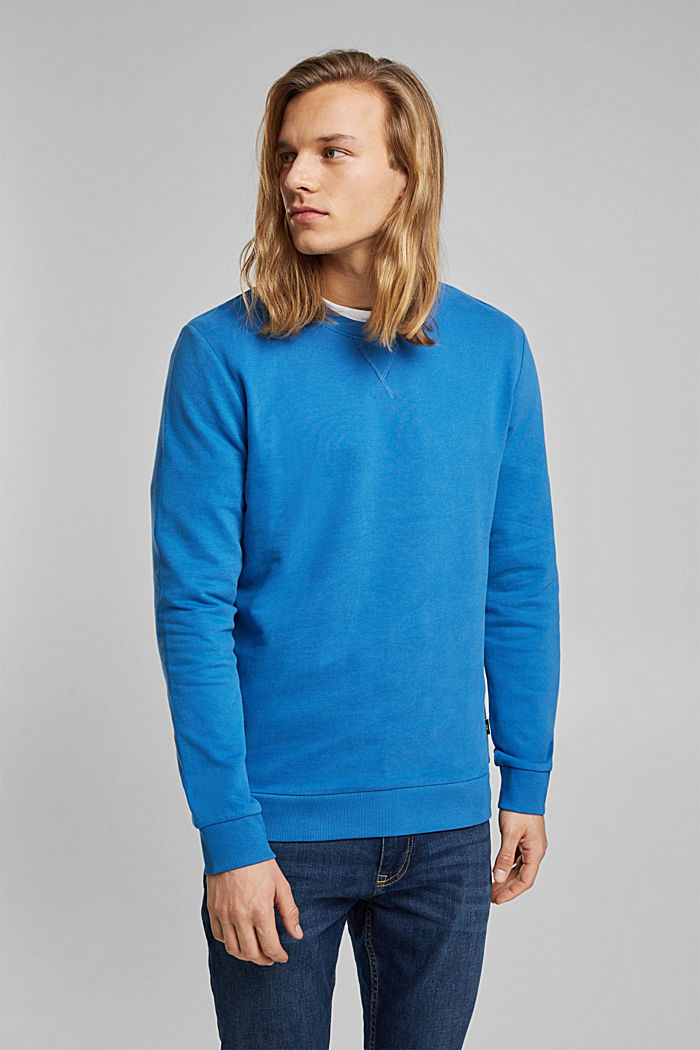 Sweatshirt in 100% cotton, BRIGHT BLUE, detail image number 0