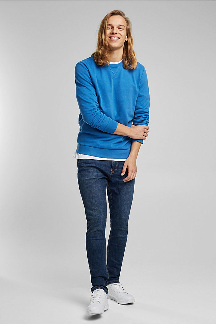 Sweatshirt in 100% cotton, BRIGHT BLUE, detail image number 1
