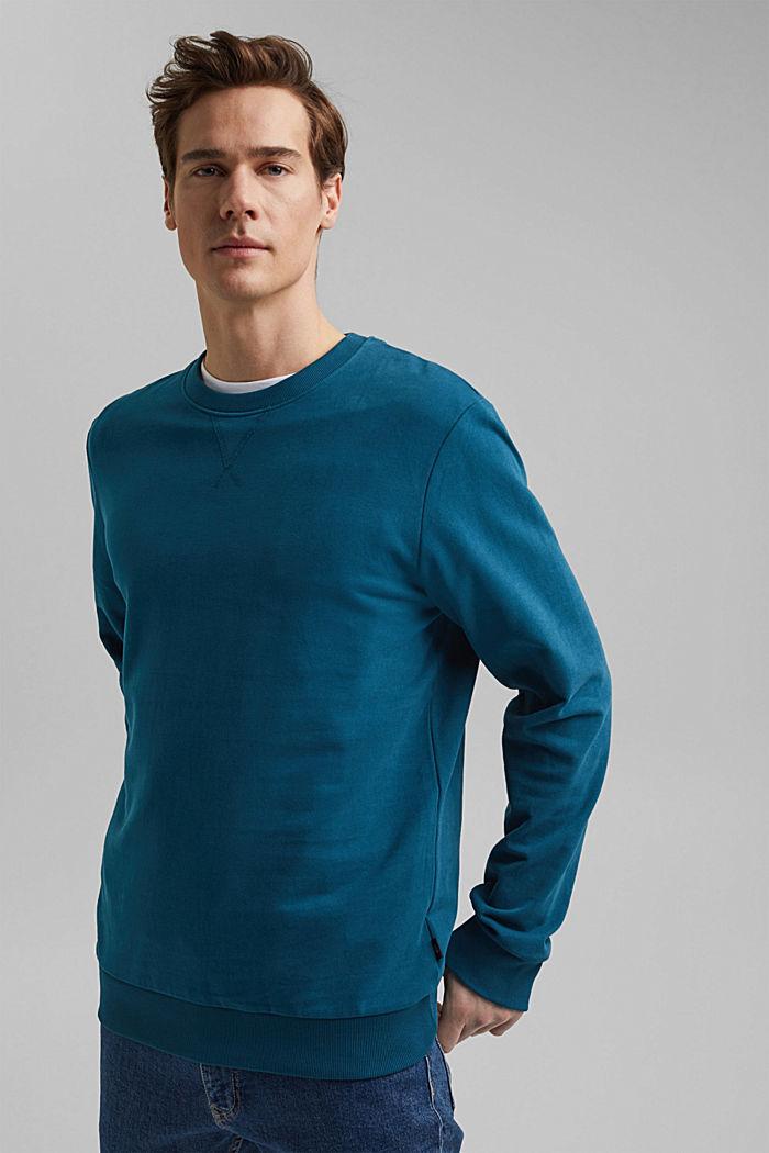Sweatshirt aus 100% Baumwolle, PETROL BLUE, detail image number 0