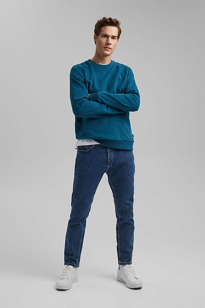 Sweatshirt aus 100% Baumwolle, PETROL BLUE, detail image number 1