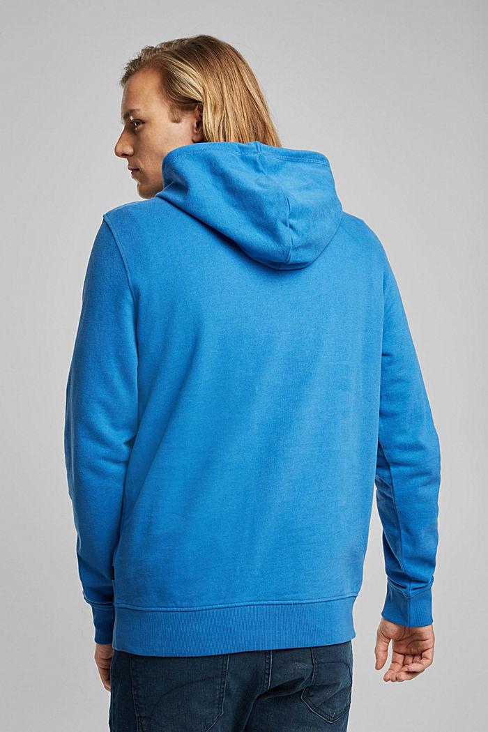Sweatshirt hoodie in 100% cotton, BRIGHT BLUE, detail image number 3