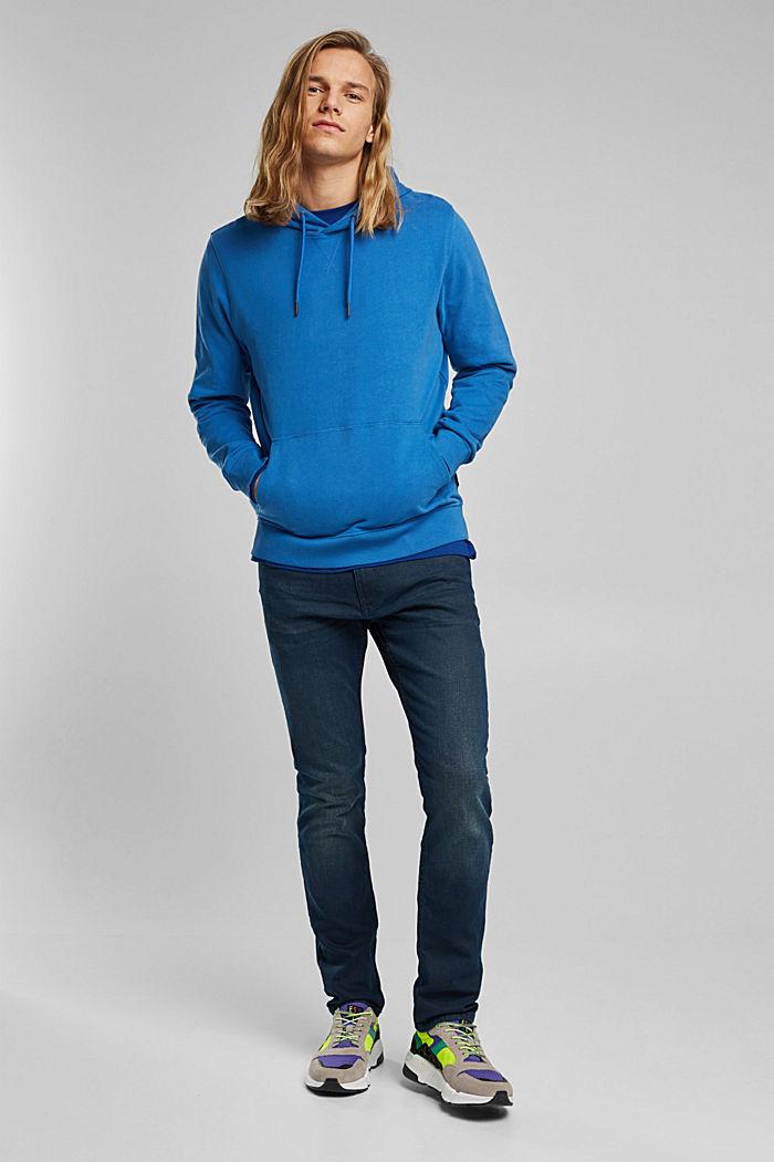Sweatshirt hoodie in 100% cotton, BRIGHT BLUE, detail image number 1